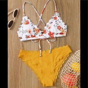 SHEIN Floral Scallop Trim Tie Back Bikini Swimsuit
